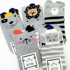 Cute Mixed Animal  Grey Color Kid's Socks w/ Pom Pom   .54 per pair