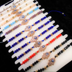 Cord Beaded Bracelet w/ Crystal Stone Hamsa 12 per cd .54 each