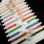 Gold Thread Macrame Bracelet w/ Cry. Stone Tree of Life  12 per cd .54 each