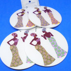 """3"""" Round White Wood Earrings w/ Dressed Out African Ladies    .54 each"""