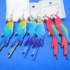 "3""  Wood Earrings w/ Colorful Parrots  Lightweight .54 each pair"