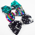 "5"" Sequin Change Color Mermaid Bows w/ Crystal Stone Center .58 ea"