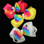"5"" 2 Layer Gator Clip Bows w/ w/ Rainbow Star Center   .54 ea"