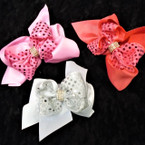 "5.5"" 2 Layer Gator Clip Bows w/ Sequin & Cry. Stone Center   .54 ea"