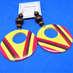 "3.5"" New Design Wood Bead Earrings w/ Multi Color Disc Drop   .54 each pair"