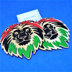 "3""  Wood Lion Face Fashion Earrings RASTA Colors  .54 each"