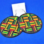 "3"" Round Wood RASTA Color Fashion Earrings  Geometric Design  .54 each pair"