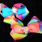 "5"" Rainbow Cut Ribbon Layered Gator CLip Bows w/ Unicorn .54 each"
