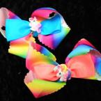 "5"" Rainbow Cut Ribbon Layered Gator CLip Bows w/ Unicorn .54 each"
