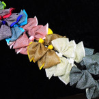 "6"" 2 Layered Sparkle Fabric Gator Clip Bows Asst Colors  .54 each"