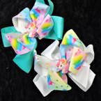 "5"" Rainbow Layered Gator CLip Bows w/ Unicorn .54 each"