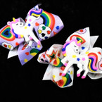 "4"" Unicorn Theme  Gator Clip Bows 24 per pk .28 each"