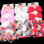 "4 Pack 3"" Gator Clip Bows Solid & Unicorn Theme 12-4 pks per pk .54 per set"
