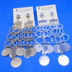"4"" Gold & Silver Dangle Fashion Earrings w/ Disc .54 each pair"