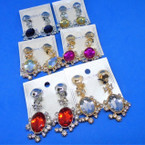 Classy Oval Gold/Silver CLIP ON Earring w/ Crystal & Gemstone .54 each pair