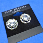 Brillant Cubic Zircona Round Earrings Clear Stones .54 per pair