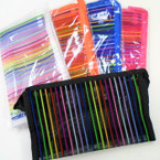 "4.5"" X 7.5"" See Thru Striped Cosmetic Bags Asst Colors .56 each"