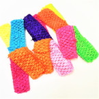"4 Pk 1.5"" Crochet Headbands Mixed Neon Colors .45 per set"