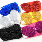 "2.5"" Crochet Headband w/ 5"" Sparkle Bow 6 colors   .50 each"