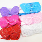 "2.5"" Crochet Headband w/ 5"" Glitter Bow 6 colors   .50 each"