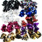 "4"" Sequin Change Color Gator Clip Bows w/ Crystal Stones 24 pk .27 each"