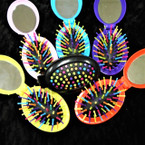 "3"" Oval Pocket Size Flip Hair Brush w/ Mirror .54 each"