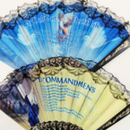 "Best Seller 9"" Blk Handle  Church Fans w/ Lace 6 Diff. Bible Verses .56 ea"
