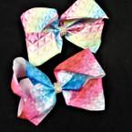 "5""  Gator Clip Bows Retro Rainbow Print w/ Cry. Stone Center  .54 each"