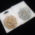"1.5"" Cast Gold & Silver Fashion Broach w/ Clear Crystal Stones .58 each"