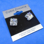 8MM Square Clear Stone Cubic Zirconia Silver Prong Earrings  .60 each pair