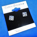 6MM Square Clear Stone Cubic Zirconia Silver Prong Earrings .56 ea