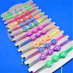 Macrame Rainbow  Bracelets w/ Triple Fimo Flower 12 per card .54 each