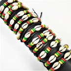 Leather Bracelet w/ Cowrie Shell & Rasta Color Wood Beads  12 per pk .54 each