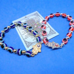 Red & Blue Eye of Protection Bead Bracelet w/ Cry. Stone Hamsa .54 each