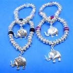Silver Crystal Stone Bead Bracelet w/ Elephant Charm  .54 each