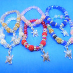 Crystal Bead & Cry. Fire Ball  Bracelet  w/ Silver Turtle Charm  .54 each