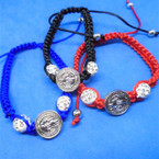 3 Color Macrame Bracelets w/ Fire Ball Beads & St. Benito Charm  .54 each