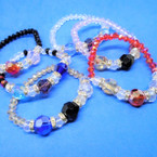 Kid's Size Full Crystal Beaded Stretch Bracelets Asst Colors   .54 each