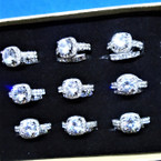 Wedding Band Ring Set Silver w/ Crystal Stone Ring & Band .54 per set