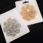 "1.5"" Cast Gold/Silver Fashion Broach w/ Clear Crystal Stones .58 each"