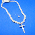 "16""-18"" White Pearl Necklace  Set w/ Crystal Stone Silver Cross .54 per set"