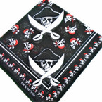 "21"" Square Cotton Bandana Pirate Theme  per dz  .52 ea"