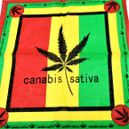 "21"" Square Cotton Bandana Canabis Theme Rasta Colors   per dz  .52 ea"