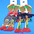 "3"" Rasta Theme Colorful Fashion Lady Wood Earrings w/ Finges  .54 per pair"