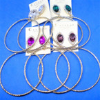 "2.75"" Gold Fashion Hoops w/Tear Drop Crystal Stone Tops  .54 per pair"