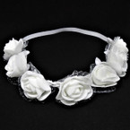 All White Flower Fashion Headbands w/ Lace  12 per pack .54 each