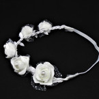 All White Flower w/ Pearl Fashion Headbands w/ Lace  12 per pack .54 each
