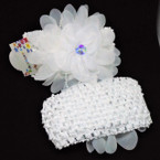 "2.5"" All White Crochet Headbands w/ 4"" Flower Bow & AB Stone   .54 each"