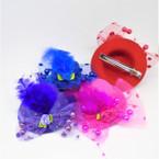 "3"" Velvet Look Hat Barrettes (gator clip) w/ Feather & Lace 12 per pk .54 each"