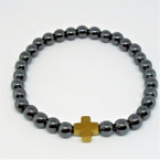 Round Bead Hematite Stretch Bracelet w/ Gold Cross  12 per pk .60 each